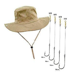 Kit Anzol encast 4330 5/0 6/0 7/0 10 unid de cada + Chapéu Safari caqui