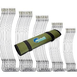 Kit Anzol encastoado - 50 anzóis encastoados 4330 (8/0,7/0,6/0,5/0,4/0) + estojo porta anzol