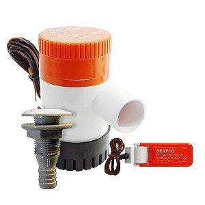 Kit Bomba de Porão Seaflo 1100gph + Automático + Saída dágua