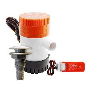 Kit Bomba de Porão Seaflo 500gph + Automático + Saída d'água