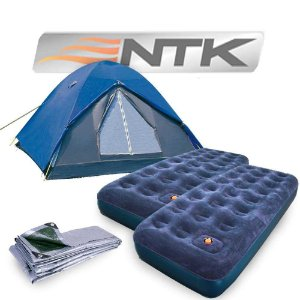 Kit Camping: Barraca Nautika Fit Fox 5/6 pessoas + Colchão inflável Nautika Zenit Solteiro + Colchão inflável Nautika Zenit Solteiro + Lona Nautika Multiuso 3x3m...