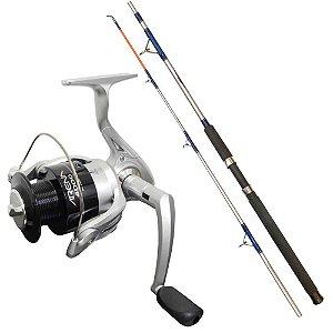 Kit de pesca Molinete Marine Sports Arena 4000 FD - Fricção Dianteir... + Vara MS Combat CB-602UH 20-45lb 1,83m 2 partes - Moline...