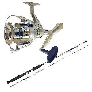 Kit de pesca Molinete Marine Sports Elite FD 4000 Novo - Fricção Dia... + Vara MS Combat CB-602UH 20-45lb 1,83m 2 partes - Moline...