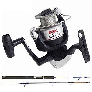 Kit de pesca Molinete Shimano FX 4000 FB + Vara MS Combat CB-602UH 20-45lb 1,83m 2 partes - Moline...