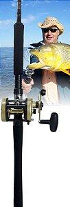 Kit Dourado - Carretilha Marine Sports Magna 5000 direita - Perfil Alto + com vara MS Sensor 40 lbs (2 partes)