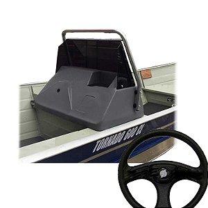 Kit Lancha Painel de polietileno para direção + Base de alumínio para painel de barco... + Para-brisa em acrílico com protetor de alumínio + Volante para barcos preto