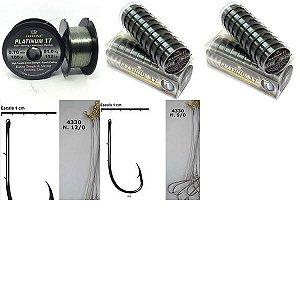Kit Linha Monofilamento Platinum XT + Anzol encastoado