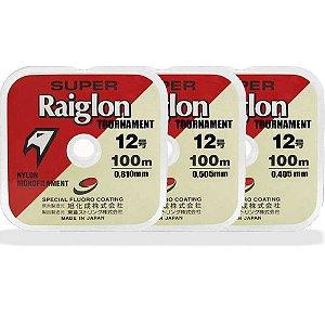 Kit Linha Monofilamento Super Raiglon 0,40mm/0,50mm/0,81mm