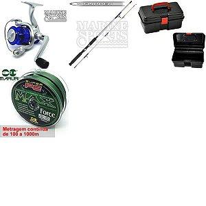 Kit Molinete MS Star 3+ Vara Flipper + Caixa HI+ Linha Multi