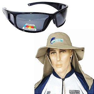 Kit Óculos Polarizado MS2648 Smok + Chapéu c/ proteção caqui