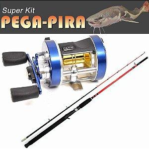 Kit Pega-Pira - Carretilha MS Caster 400 c/ Vara 2,1 m 30-60 lbs 2 partes