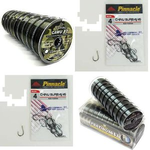 Kit Pesca Linha Monofilamento Camou XT 0,30mm - 100m - 26,8 lbs... + Linha Monofilamento Platinum XT - 0,20mm - 100m... + Anzol Pinnacle Chinu Sure - sem farpa - Cartela 01 com ... + Anzol Pinnacle Chinu Sure - sem farpa - Cartela 04 com...