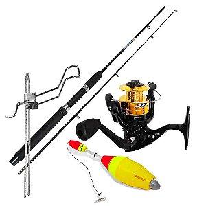 Kit Pesca Vara Maruri Molinete c/ linha Supor. Boia e Massa