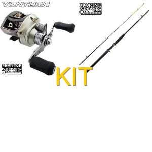 Kit Pesqueiro: Carretilha MS Ventura VT 10 esquerda + Vara MS Laguna 2 C602MH 15-40lb