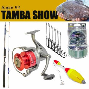 Kit Tamba Show - Molinete MS Prisma 4000 + Vara MS Combat 20-45 lb + Linha Platinum XT BOX 0,45mm 25kg 200m + Boia de pesca Aguape Cevadeira + 10 Anzois Pinnacle Chinu encastoados
