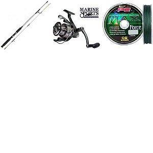 Kit Vara Flipper+Molinete Serena 2000 + 3X Linha multif 0,14