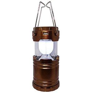 Lampião Lanterna Xingu 6 Led recarrega Bivolt e Solar Preto