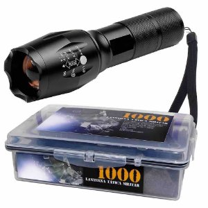 Lanterna Tática Militar Martinelli 1000 Led T6-G2 + Estojo à prova dágua com 2 Baterias 26650