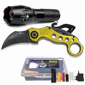Lanterna Tática Militar Martinelli 800 + Canivete Nautika Bullet