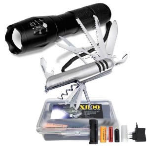 Lanterna Tática Militar X800+ Canivete Inox 11 Funções tipo Suíço