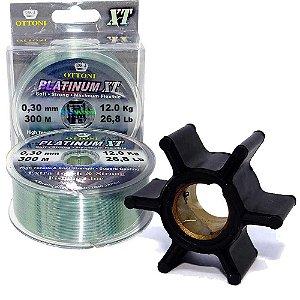 Linha Mono Platinum XT BOX 0,30mm+Rotor bomba dagua J/E15 HP