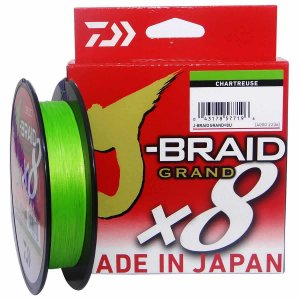 Linha multifilamento Daiwa J-braid Gr X8 Chartreuse 135m 0,28mm 30lb