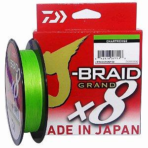 Linha multifilamento Daiwa J-braid Gr X8 Chartreuse 135m 0,32mm 40lb