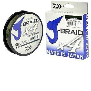 Linha Multifilamento Daiwa J-Braid X4U 0,21 mm 20 lb 135m - azul