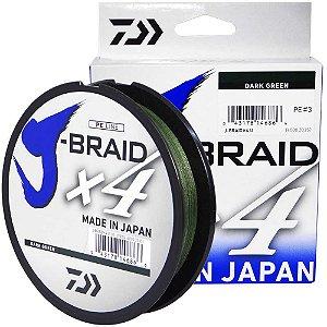 Linha Multifilamento Daiwa J-Braid X4U 0,21 mm 20 lb 135m - verde
