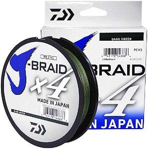 Linha Multifilamento Daiwa J-Braid X4U 0,25 mm 30 lb 135m - verde
