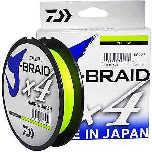 Linha Multifilamento Daiwa J-Braid X4U 0,25 mm 30 lb 135m - Yellow