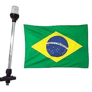 Luz de popa Led 38cm preta efeito Estrobo bandeira Brasil