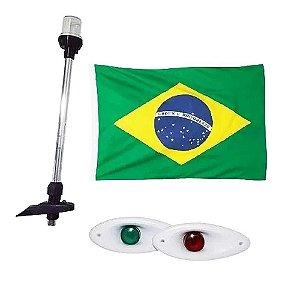 Luz Olho Tubarão + Mastro 40cm + bandeira do Brasil