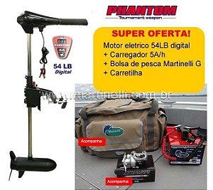 Motor Elétrico Phantom 54 LB com medidor digital + Carregador Martinelli 5A + Carretilha Arena direita + Bolsa de apetrechos Martinelli