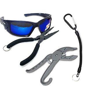 Óculos Maruri Polarizado 6556+ Alicate MS SRP-165+ Alicate Pega Peixe ABS+ Cordão