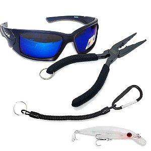 Óculos Maruri Polarizado 6556+ Isca Raptor-X 100+ Alicate de bico MS+ Cordão