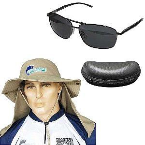 Óculos Maruri Polarizado RD-8688 + Chapéu Com Proteção Caqui