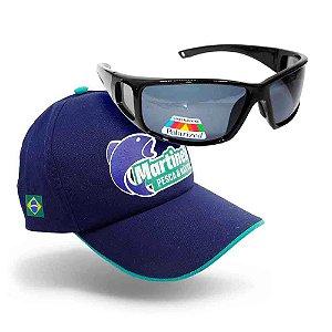 Óculos Polarizado Marine Sports MS-2648 Smoke + Boné Martine
