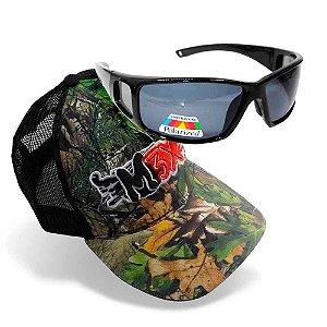 Óculos Polarizado Marine Sports MS-2648 Smoke + Boné Monster