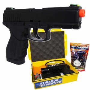 Pistola Airsoft Wingun W24/7 6mm c/ exclusivo estojo + kit atirador + 2000 BBs
