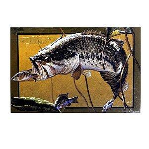 Placa decorativa Pesca 01 Bass Horizontal - 20 x 30 cm