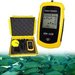 Sonar portátil Fisfinder c/ sonda ultra sônica p/ pesca até 100m  e exclusivo estojo à prova d' água