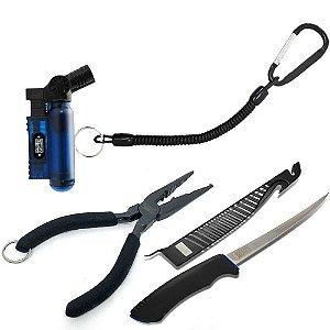 Kit de Acessórios: Alicate de bico + Cordão de Segurança + Faca Marine Sports Fileteira + Isqueiro Maçarico