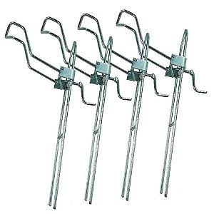 4x Suportes para vara barranco com regulagem tamanho G