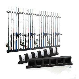 6 Suporte de varas Stick Rack para parede - Exposição de 6 varas