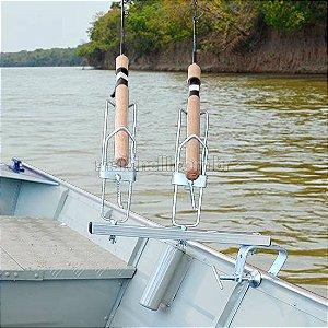 Suporte para 2 varas Tablado/Barco com regulagem de altura e giro de 360 graus
