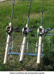 Suporte para vara barranco 3 varas com regulagem