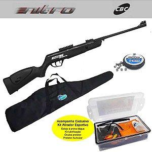 Carabina de Pressão CBC 5,5 mm Jade Mais Nitro Ox + Kit promocional Atirador Esportivo + Bolsa p/ Carabina + Chumbinho Diabolô Snyper 5,5mm c/ 125