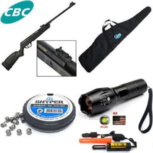 Carabina de pressão CBC JADE Preta - Cal 5,5mm + Lanterna Tática Militar CREE Led X1000 T6-G2 Recarregável + Bolsa para Carabina + Chumbinho Diabolô Snyper 5,5mm