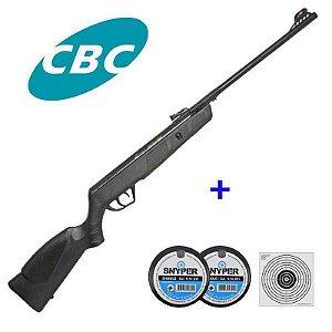 Kit Carabina de pressão CBC JADE Preta 5,5mm + 10 Alvos de papel + 250 Chumbinho Diabolô Snyper 5,5mm